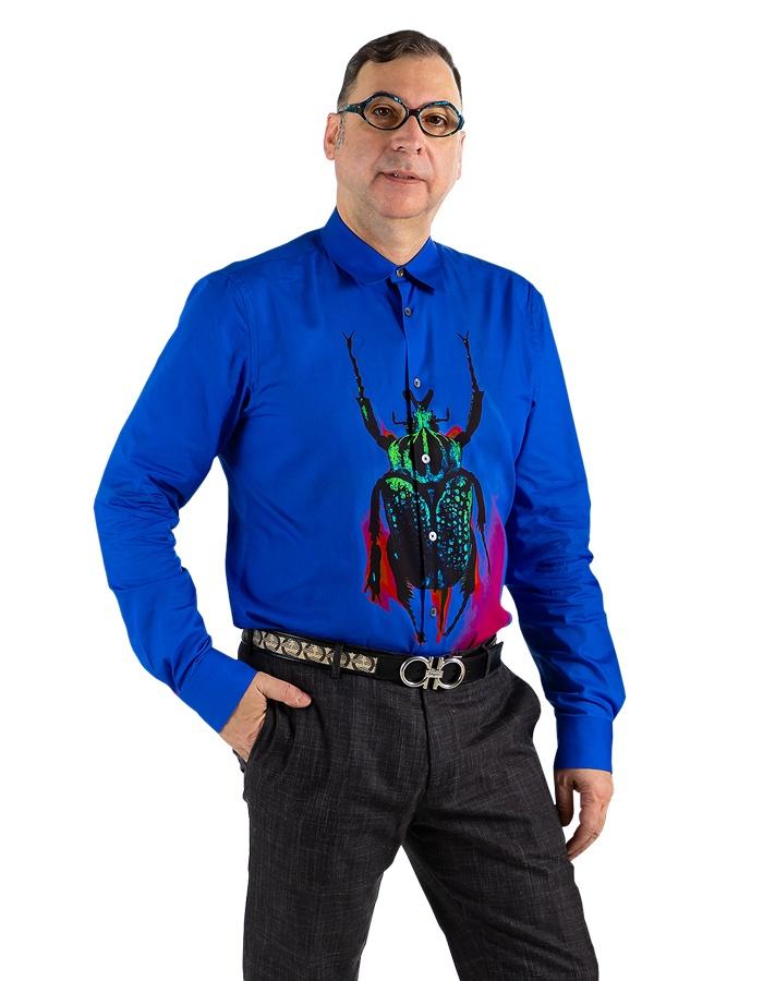 principal Giuseppe Joe Spinelli blue scarab shirt