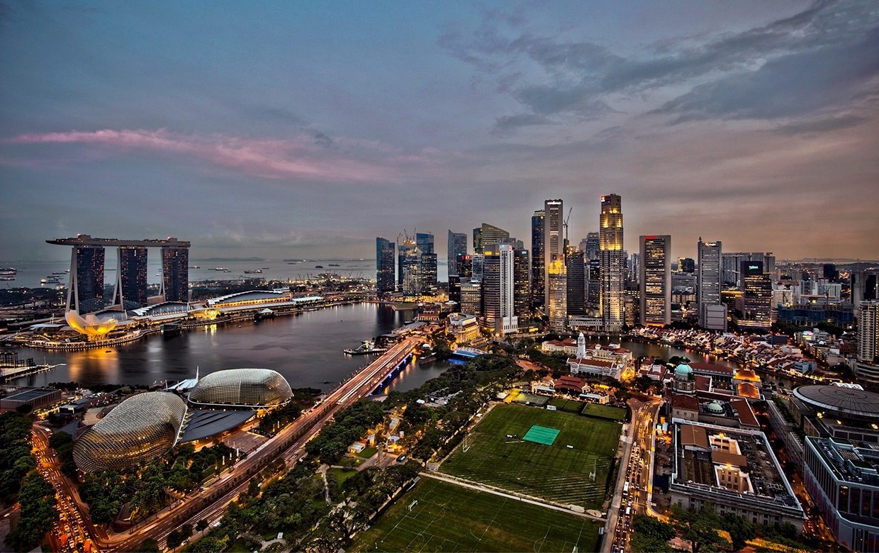 aerial shot of singapore central business district