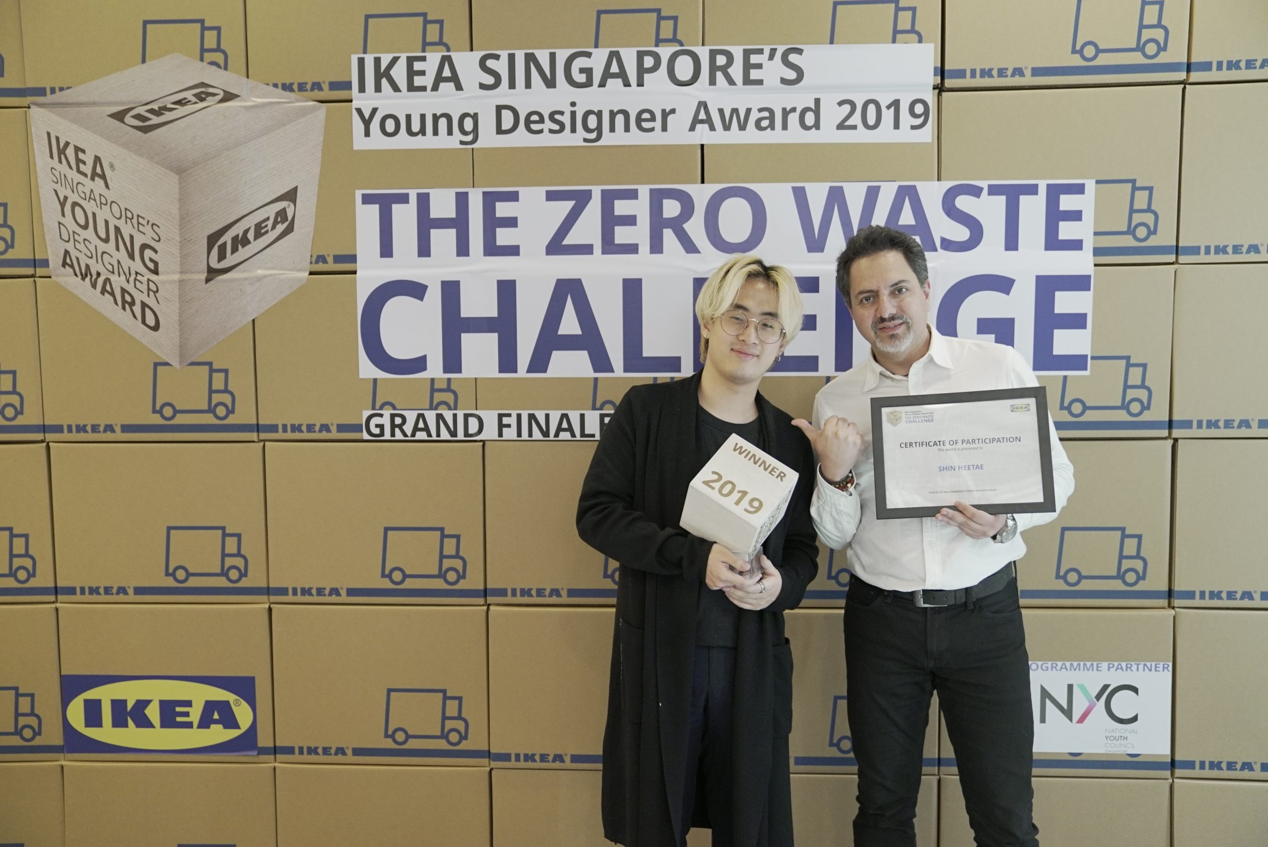 winner of ikea singapore young designer award 2019 raffles product designer shin hee tae with lecturer hector salazar