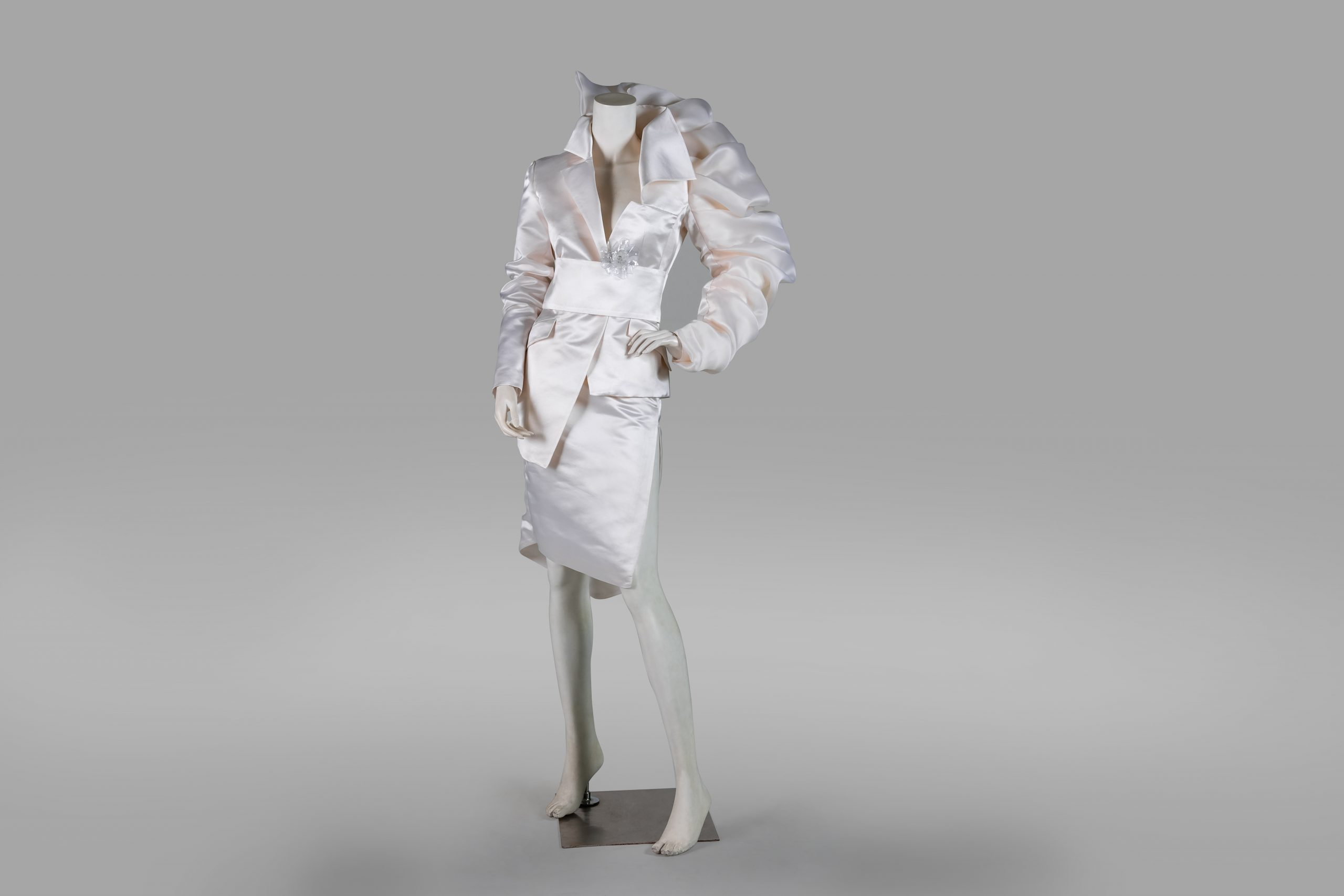 the beginning of female independence white dress front facing