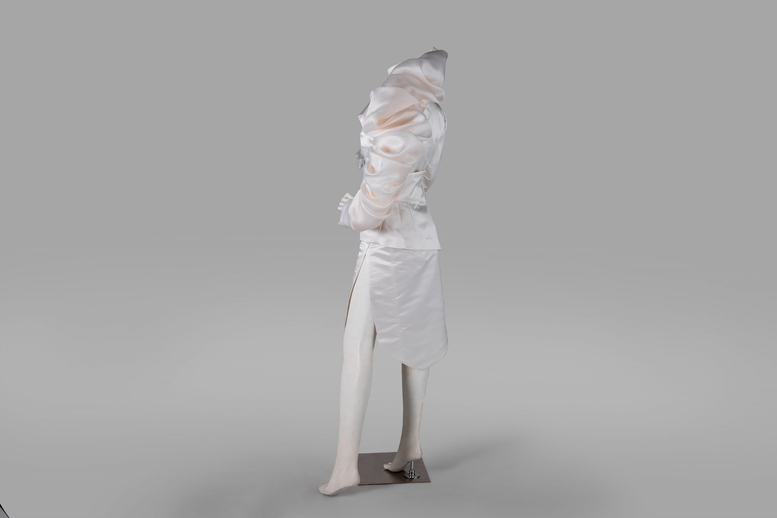 the beginning of female independence white dress tilting left