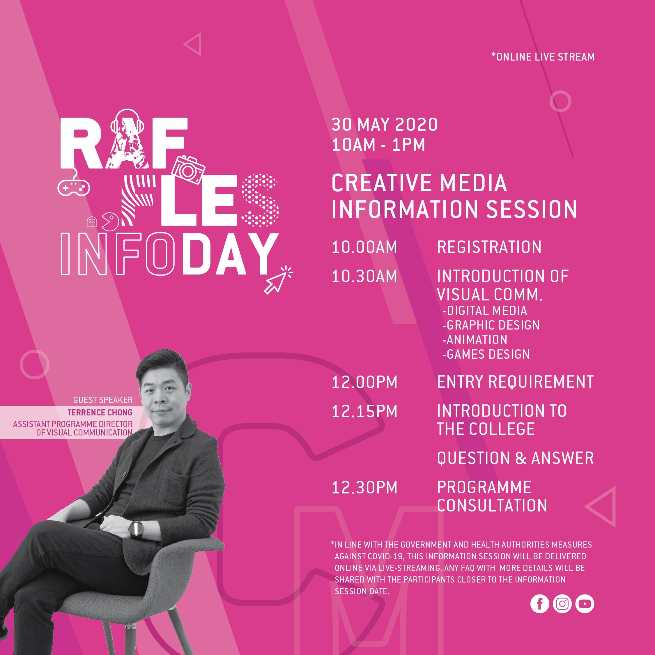 Raffles infoday Creative Media main poster