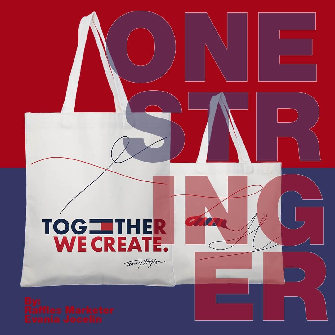 One Stringer Tommy Hilfiger tote bag advertisement