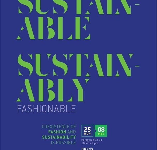 Dress sustainably fashion exhibition poster