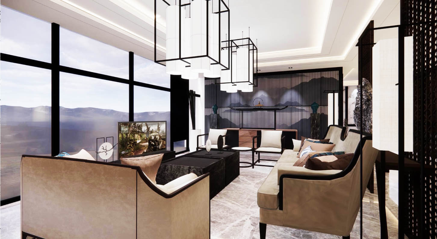 Neoteric Oriental Residence Living room