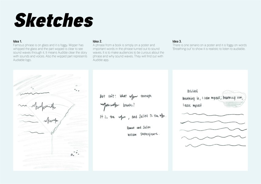 D&AD New Blood Awards 2020 Wood Pencil Ideating Sketches Audible