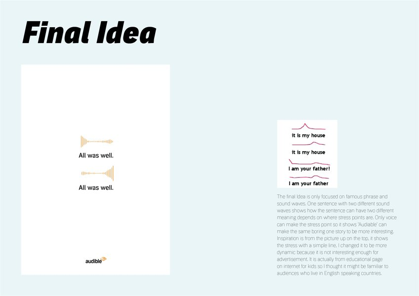 D&AD New Blood Awards 2020 Wood Pencil Final ideas Audible