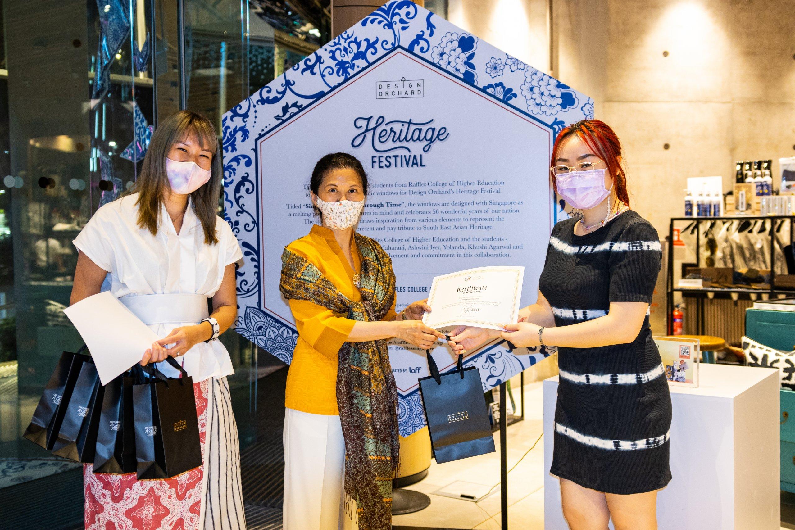Design Orchard Raffles Heritage Festival 2021 Visual Window Display Raffles Designer Receiving Letter Red Hair